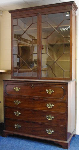 Image of Lot  948  - A George III mahogany secretaire bookcase (a/f).