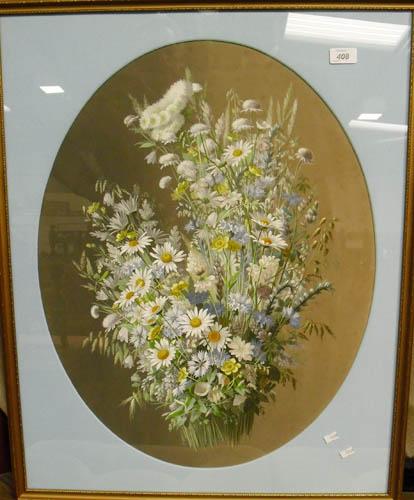 Image of Lot  408  - A floral still life, indistinctly signed, M de Longpre Fil ?
