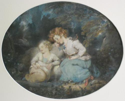 Image of Lot   81  - Children in a woodland glade, pastel, early 19th century, unsigned, possibly the work recorded in the collection catalogue as Minnie and Janie Smith, by Mrs Carpenter/ Margaret Sarah Carpenter.