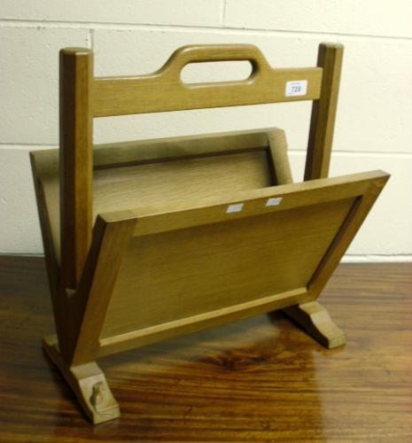 Image of Lot  729  - A Robert Mouseman Thompson oak magazine rack.