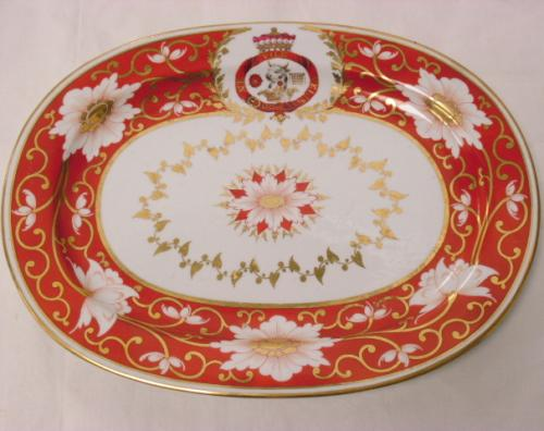 Image of Lot  102  - An oval plate bearing the arms of Admiral Lord Nevill Earl of Abergavenny decorated with Japan pattern, Chamberlains Worcester 1813.