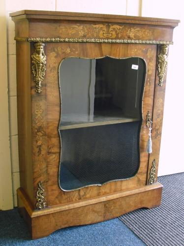 Image of Lot  745  - A Victorian walnut and floral inlaid pier cabinet with gilt metal mounts