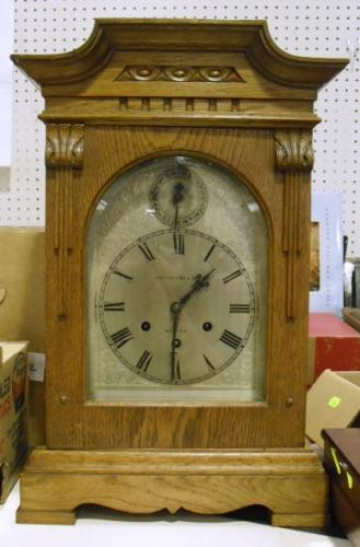 Image of Lot  214  - An oak cased Westminster chime bracket clock, dial signed Spiegelhalter & Son, Malton