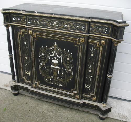 Image of Lot  690  - A Victorian marble topped mother of pearl & brass inlaid ebonised side cabinet, with label Newbigging, Smith & Co, Glasgow