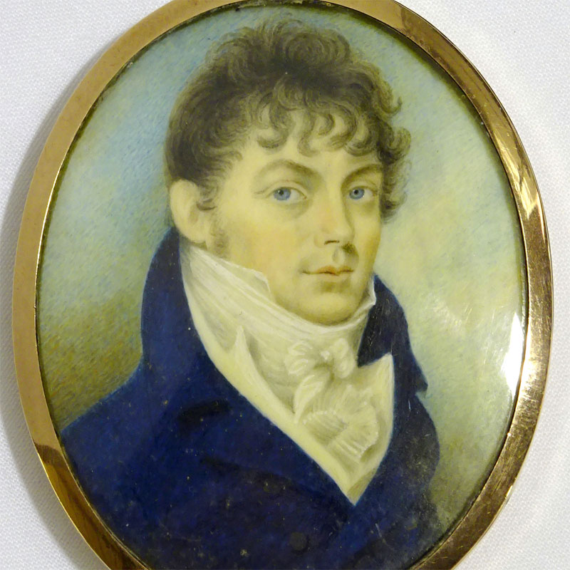 Image of Lot 362 - Portrait miniature of a Regency gentleman, painting on plaque in a yellow metal frame having a plait of hair set in the reverse