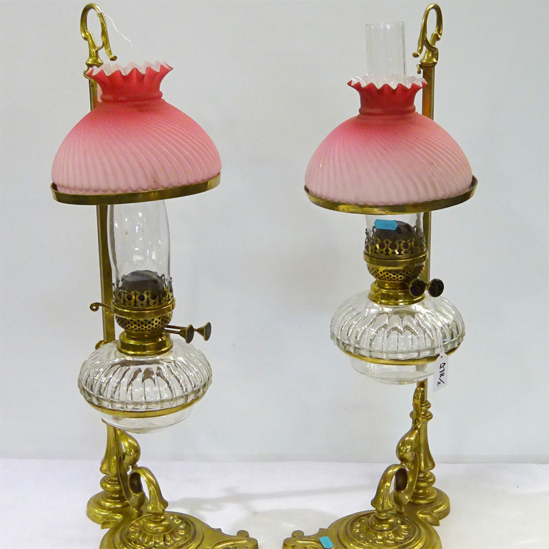 Image of Lot 278 - A pair of adjustable reading lamps, one shade a/f